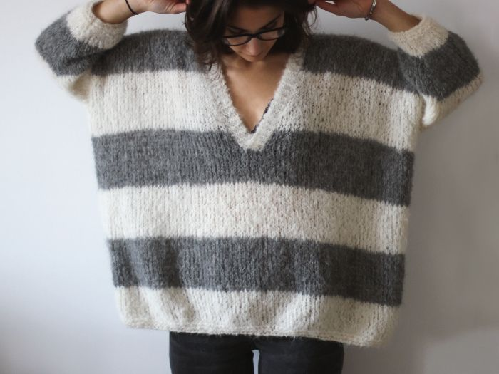 Grey and white stripes knit Stardust – Drops DESIGN ludivineem