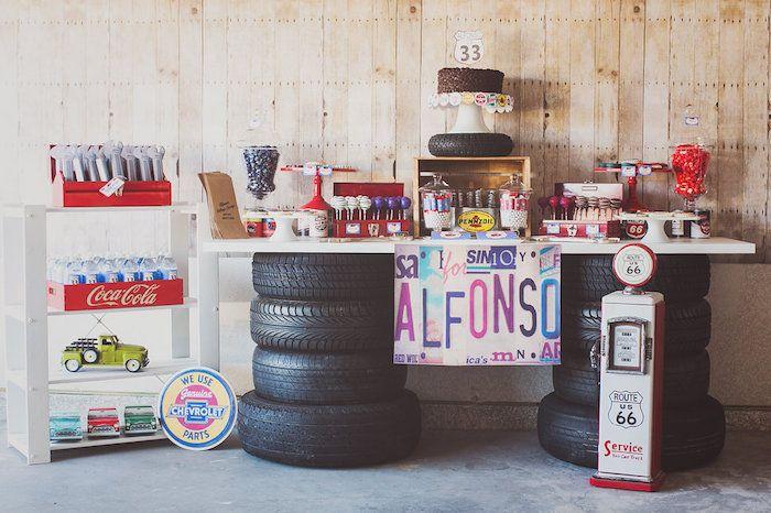 Vintage Chevy Auto Garage Themed Birthday Party Via Kara