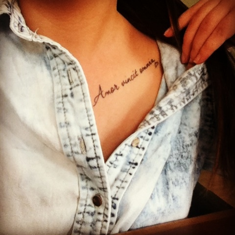 Amor vincit omnia <3 Love conquers all. My 2nd tattoo.