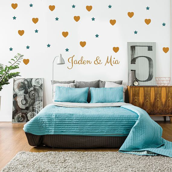 Heart & star wall decal, personalized name decal, wall sticker, vinyl wall decal, custom wall decal, heart decal, star decal, wall mural 420