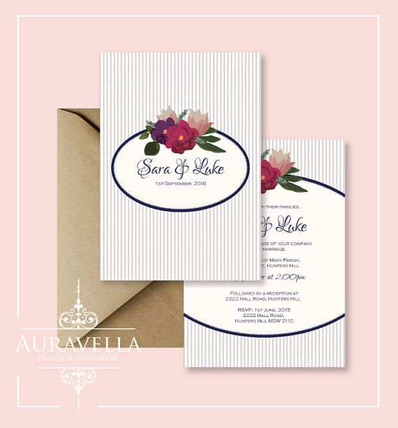 Printable wedding invitation suite. wedding by Auravella on Etsy