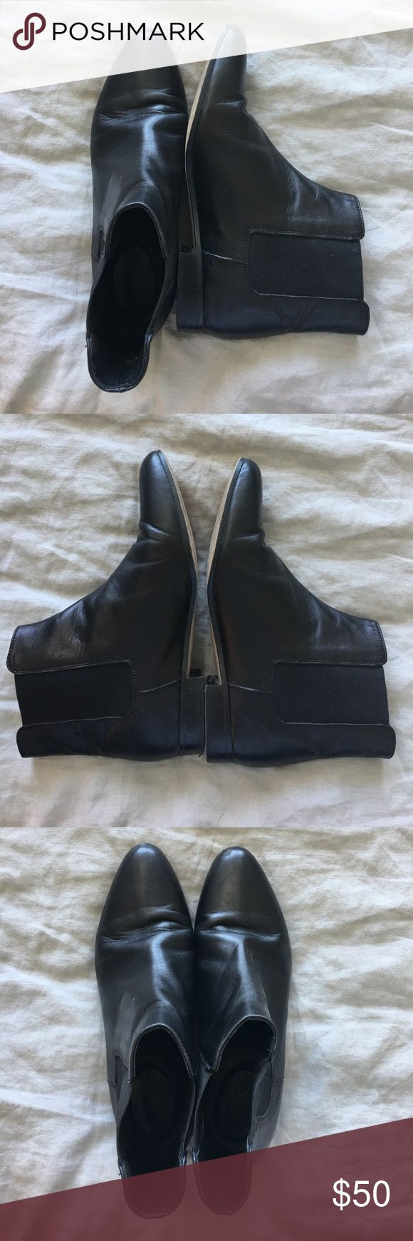 J. Crew black leather chelsea boot Flat heel, slip on chelsea boot. Leather is a little worn for use but they are clean and look great! J. Crew Shoes Ankle Boots & Booties