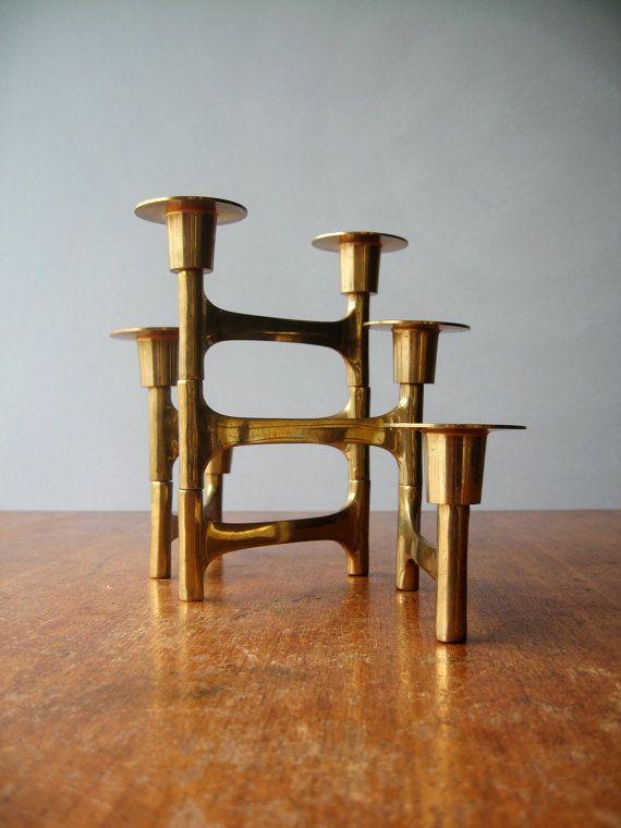 Vintage Modernist Articulating Brass Candle Holder / by luola, $57.00