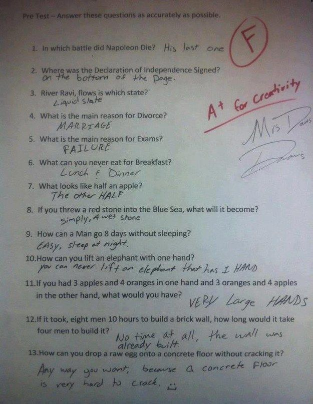 Every single one of these test answers. | The 31 Most Smartass Things To Ever Happen