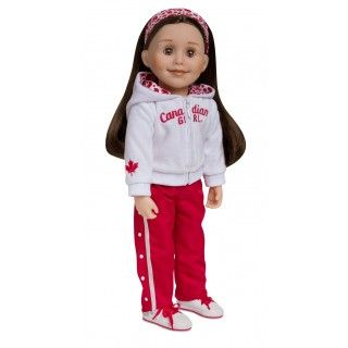 Strong and Free: Show your doll's proud Canadian spirit with a cozy velour Canadian Girl hoodie set! Both the hoody and warm up pants fit easily over a t-shirt and shorts (sold separately). White canvas high top runners are accented with red laces and silver graphics. Red maple leaves adorn the hairband and hoodie lining.