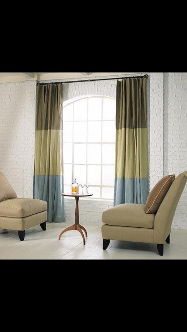 Color block curtain panels