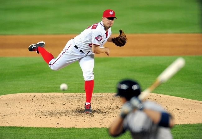 May 20, 2015; Washington, DC, USA; Washington Nationals pitcher Jordan Zimmermann (27) throws a pitch in the fifth inning against the New York Yankees at Nationals Park. The Nationals won 3-2. - Mandatory Credit: Evan Habeeb-USA TODAY Sports