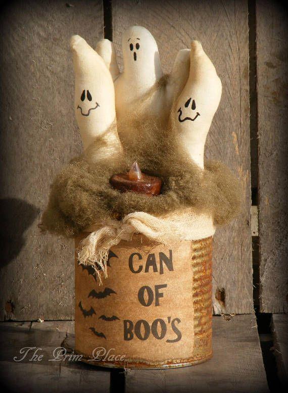 Can of Boos  Primitive Halloween Decor  Primitive Ghosts