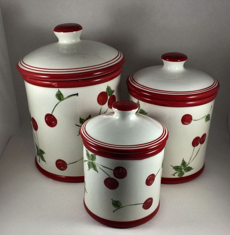 where to buy kitchen canisters details about home brand white ceramic cherry motif canister set 3 piece kitchenware cherries 9254