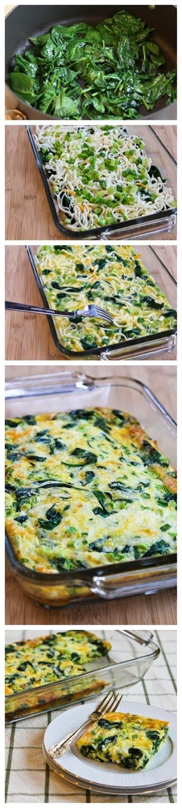Spinach and Mozzarella Egg Bake. Great easy dinner. I used arugula instead of spinach plus added bacon and sautéed mushrooms. Make a big bat...