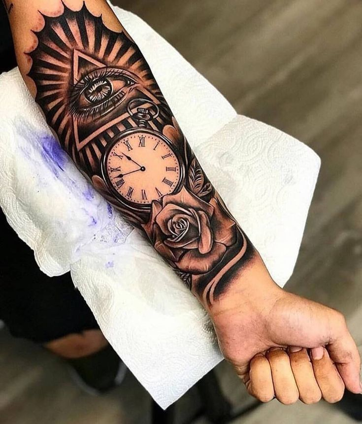 Beautiful Tattoo Sleeve All Seeing Eye Watching Over Time Black Grey Piece Forearm Tattoo Men Cool Forearm Tattoos Arm Tattoos For Guys