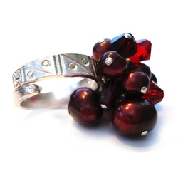 glamorous silver cocktail ring with red pearls and crystal £65