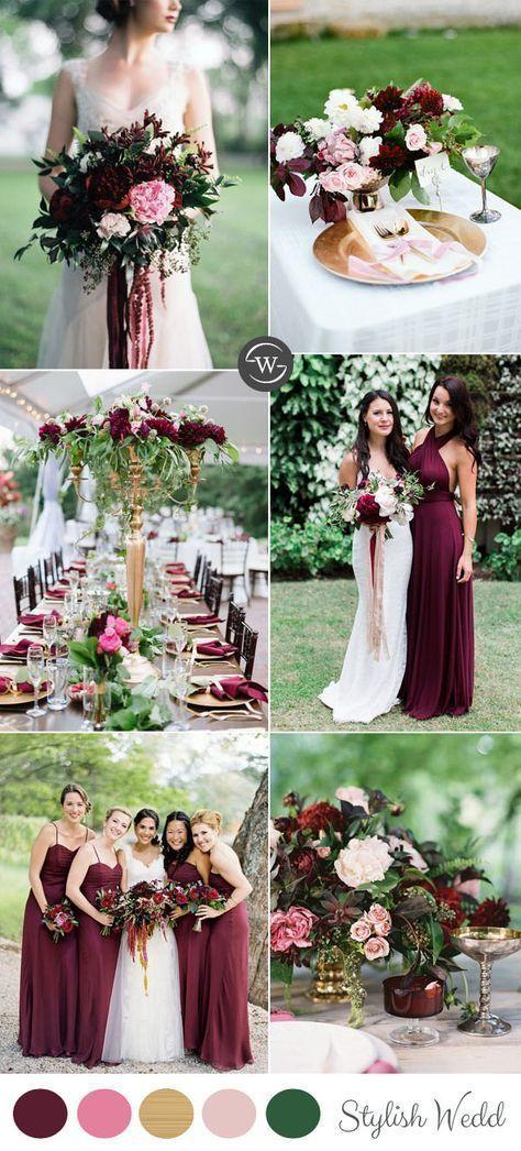 burgundy and pink garden wedding colors ideas for all brides #BurgundyWeddingIdeas