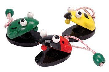 Castanets: Bee, Ladybug, OR Frog by Schylling. $2.99. Price is for ONE. Made of wood. Non-toxic. Come in assorted styles of bees, ladybugs, and frogs. This fun castanet is made of wood. Comes in either bee, ladybug, or frog style. Sold individually. One castanet, non-toxic Ages: 3 and up Manufacturer: Schylling