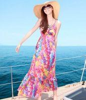 2014 vestido de la playa de bohemia del trapear el piso completo vestido de la impresión floral correa de espagueti de una pieza vestidos algodón