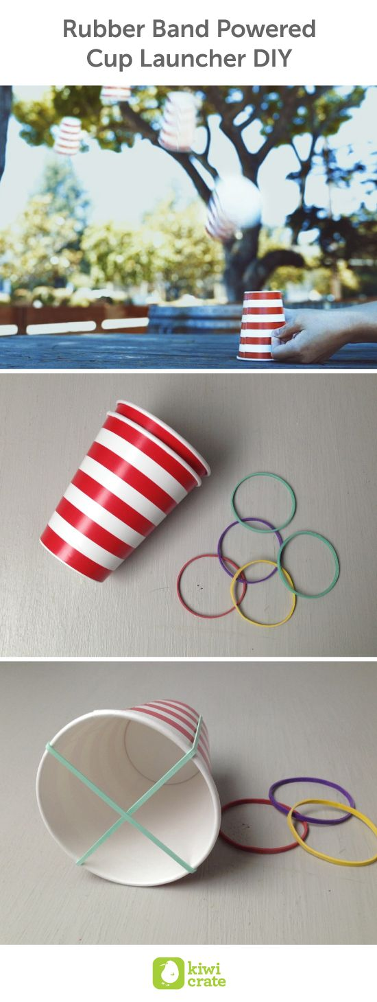 Rubber Band Powered Cup Launcher DIY. Make July 4th even more exciting with a rocket launching competition in the backyard! This DIY is super simple and only requires a few cups and rubber bands. kids. decorations. activities. party. cup. red. white. blue. easy. ideas. summer. boredom busters. recipes. cups.