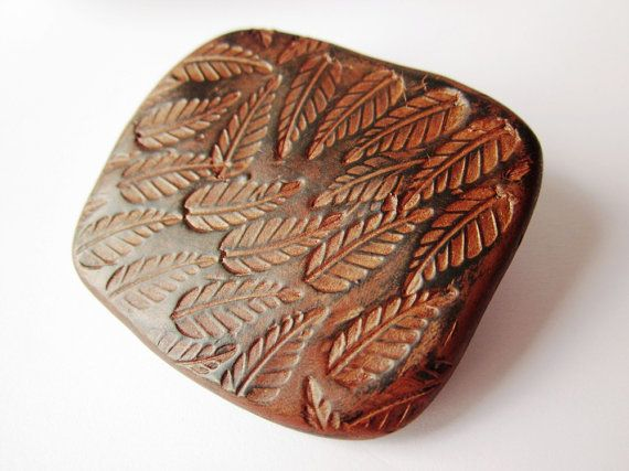 Large brooch  polymer clay tooled leather look scarf by Lagneys, £10.00