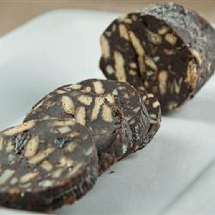 Chocolate Salami Recipe Desserts with raisins, cognac, biscuits, blanched almonds, unsweetened cocoa powder, melted butter, sweetened condensed milk, confectioners sugar