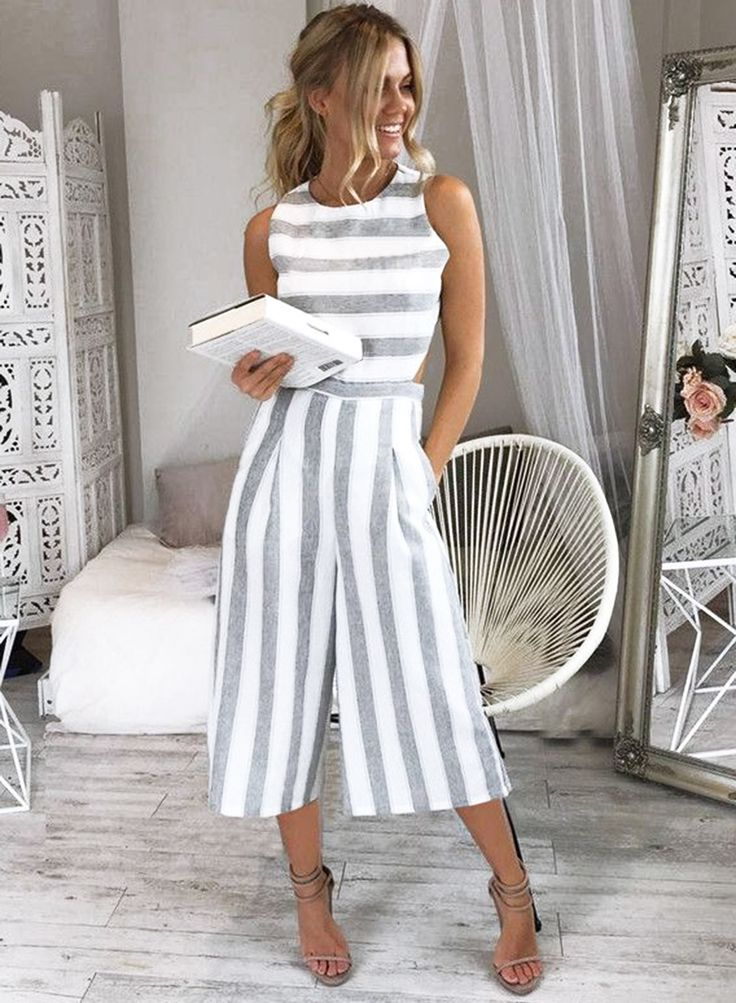 the jumpsuit is featuring sleeveless, strappy design, backless, zip back, striped pattern and wide-leg style.