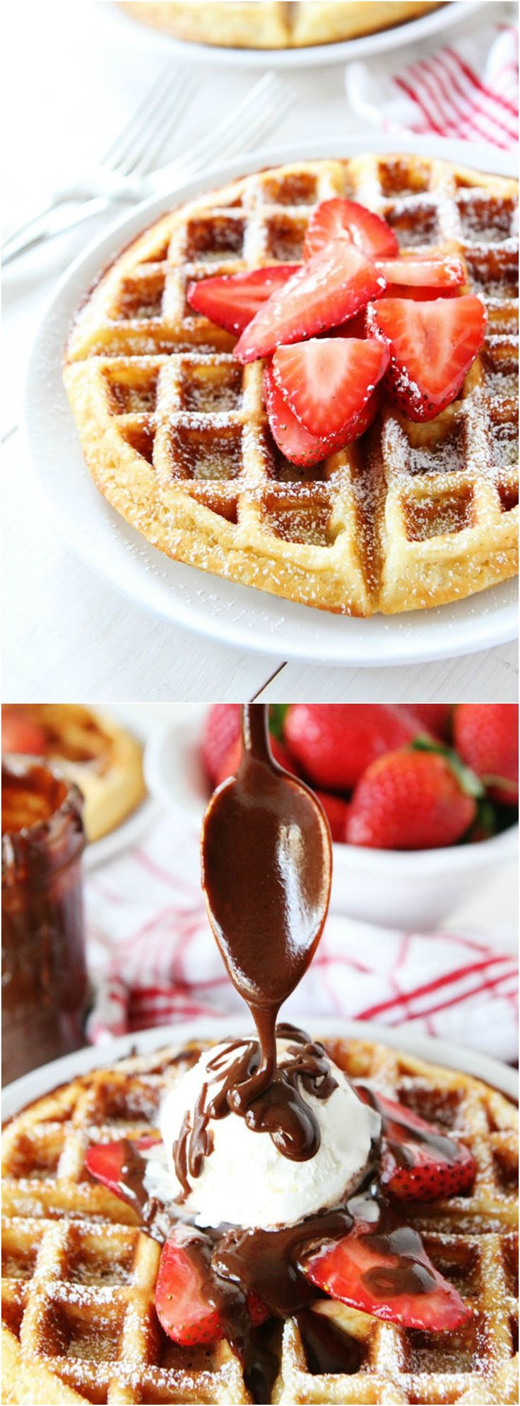Yeasted Belgian Waffles Recipe on twopeasandtheirpod.com Great for breakfast or topped with ice cream and hot fudge for dessert!
