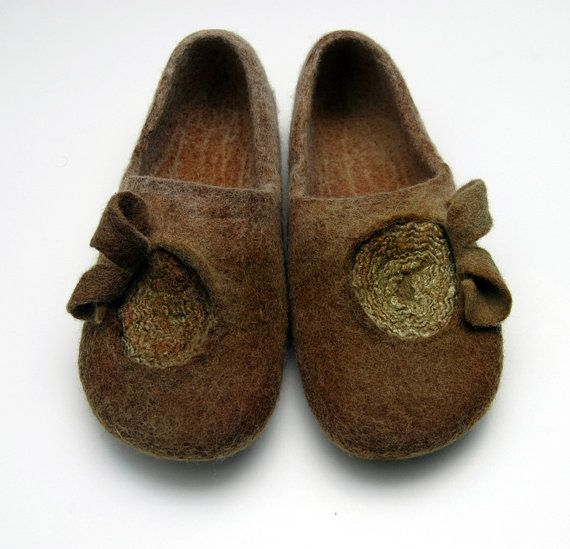 ECO dyed Felted slippers by jurgaZa on Etsy, $70.00-They know how to make felted slippers in Lithuania! These are gorgeous!