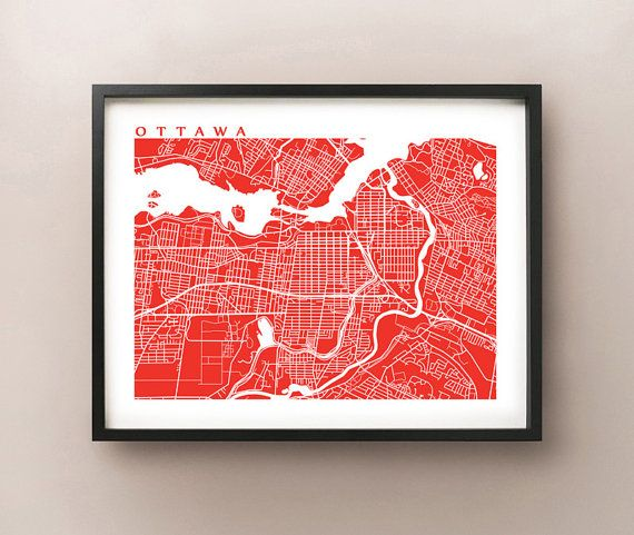 Ottawa Map Art  Canada Wall Art  Ontario  by CartoCreative on Etsy, $20.00