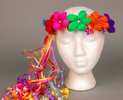 floral wreath crepe paper head piece for fiesta | Cinco de Mayo Hats & Headwear Multicolor Flower Crown Image