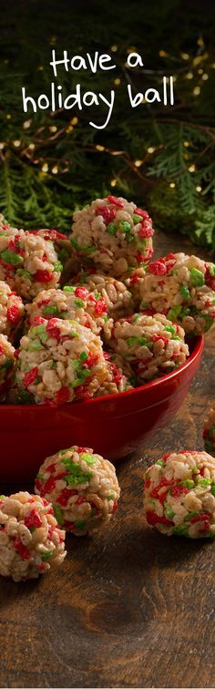 Holiday Ornament looking treats. Rice Krispies Holiday Edition w/ a sprinkling of red & green. Will try these...