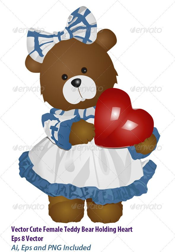 Vector Cute Female Teddy Bear Holding Heart Eps 8 Vector Ai, Eps and PNG Included