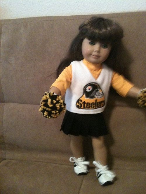 18 inch doll (modeled by American Girl) Pittsburg Steelers Cheerleading outfit (NOTE:  It's PittsburgH)