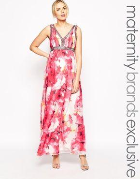 Little Mistress Maternity Rose Printed Maxi Dress