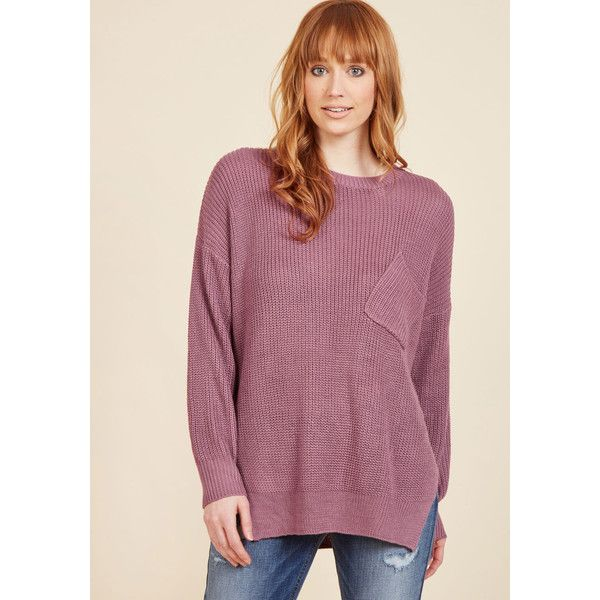 Slouchy Sensation Sweater ($50) ❤ liked on Polyvore featuring tops, sweaters, apparel, pullover, varies, pullover top, slouchy sweaters, slouchy tops, oversized pullover sweater and purple top