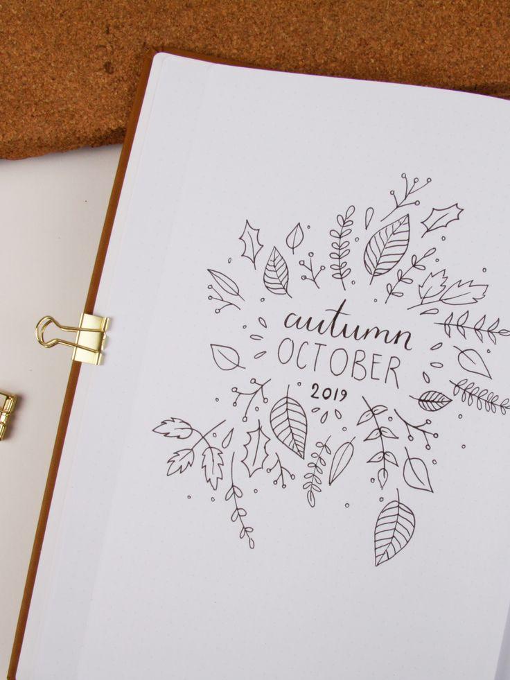 herbstliches Deckblatt für dein Bullet Journal – Inspiration