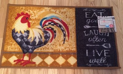NWT-CAFE-COUNTRY-ROOSTER-LAUGH-LIVE-KITCHEN-DECOR-FLOOR-DOOR-MAT-RUG-17-034-X-28-034