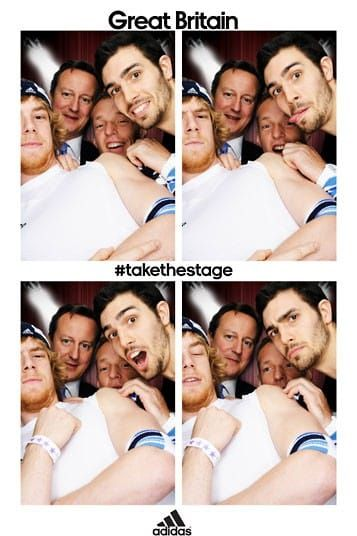 David Cameron poses in the adidas photobooth with the Team GB men's indoor volleyball team
