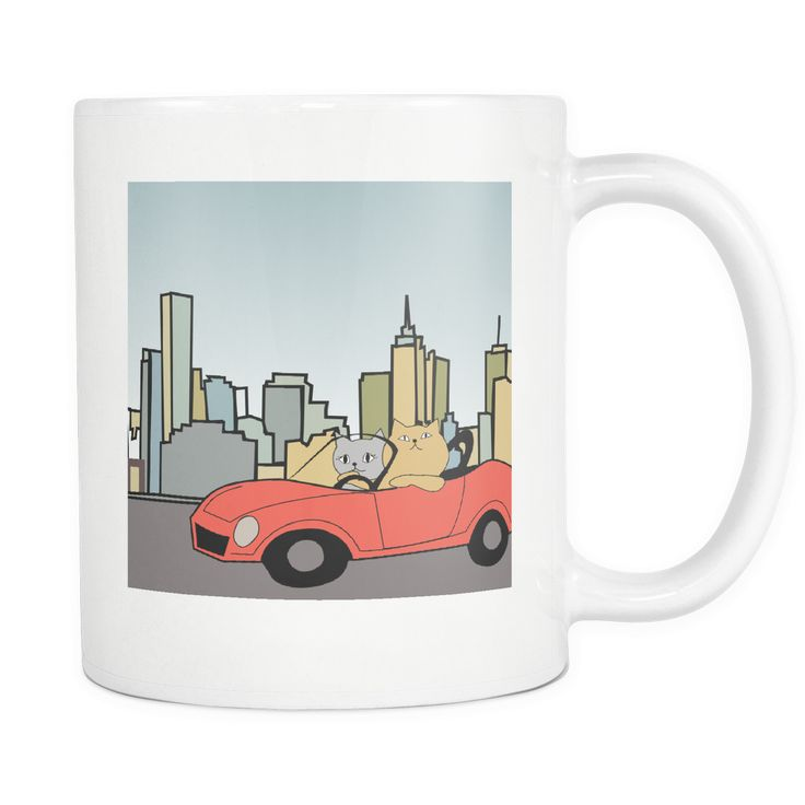 Cat Themed Mug - Whimsical City Slickers 2