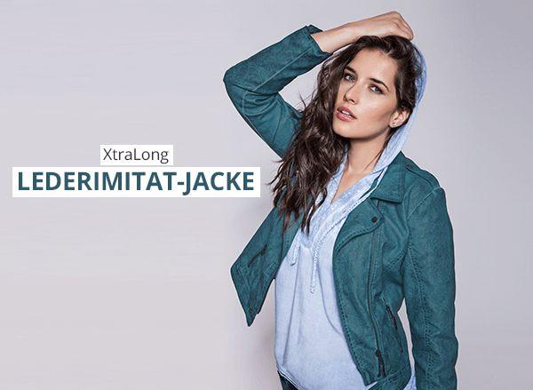Neue Lederimitat-Jacke in XtraLong