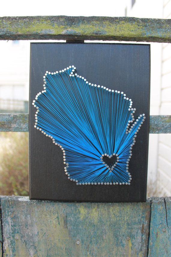 Wisconsin State String Art - any state available - silver nails - milwaukee - home goods - by InspiredByAdventure