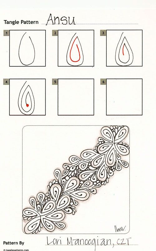 Online instructions for drawing CZT® Lori Manoogian's Zentangle® pattern: Ansu.