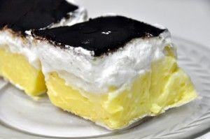 French Kremesh   (Francúzsky Krémeš)   slovak kremes puff pastry with cream and custard topped in chocolate