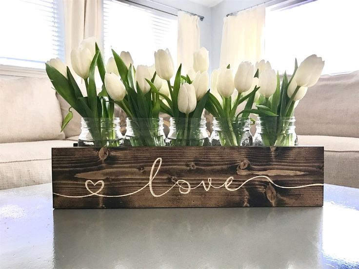 Engraved mason jar centerpiece planter box will liven up the kitchen table. Decorate for any holiday!