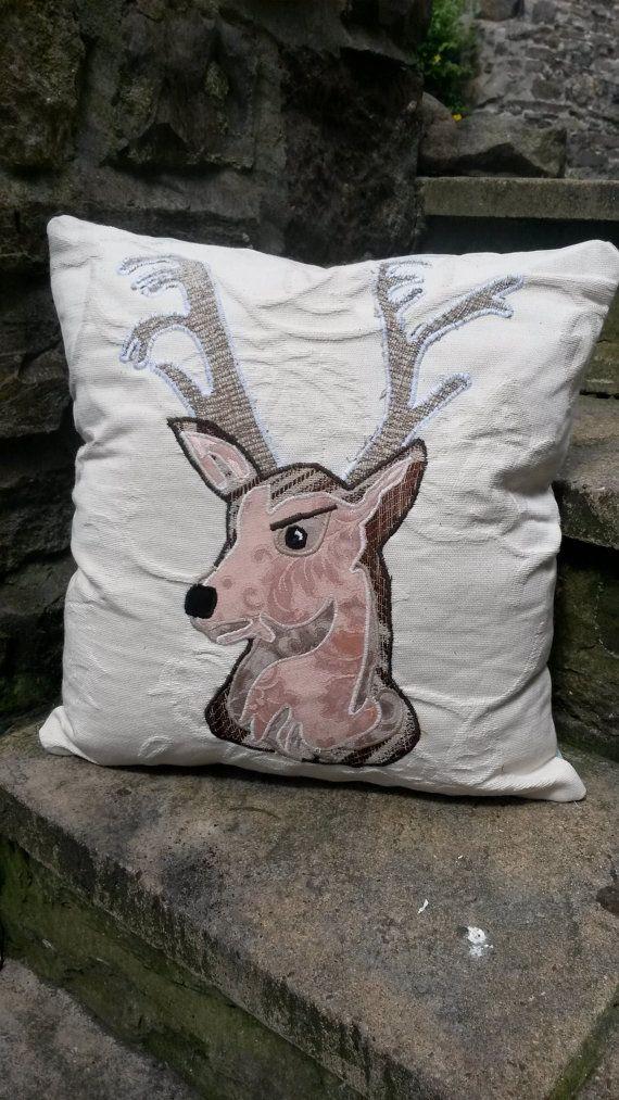 Deer Head Cushion Pillow Stag Portrait Animal Doe by ByeBrytshi
