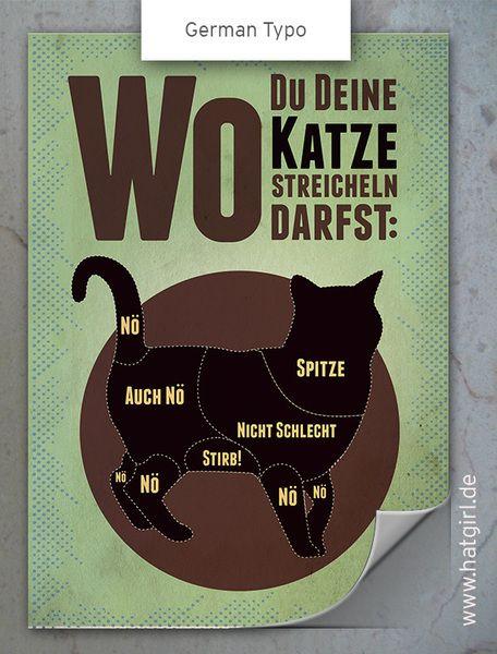 """Vintage Poster """"Wo Du Deine Katze streicheln darf""""…"""