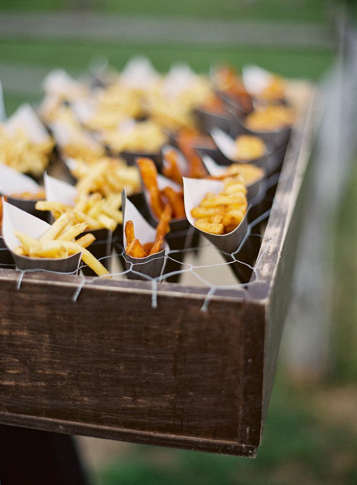 Paper Cones Of Assorted French Fries For A BBQ Style Rehearsal Dinner Event Catering By