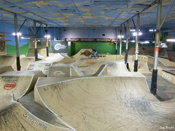 Dan Spurk hitting up the jumps in the Troy Lee Designs Rhythm Room at Rays Indoor Mountain Bike Park in Cleveland Ohio