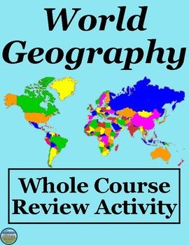 This packet is a great semester or year review for a Geography class. Students sort the physical and political geography terms/locations, history related items, and modern life and challenges terms for North America, South America, Europe, Australia/New Zealand, Africa, and Asia, and complete two academic tasks for some of those terms, answer 5 questions, and match 24 physical and human geography terms to their identifications.  They also work with a world map, types of maps, and seasons.