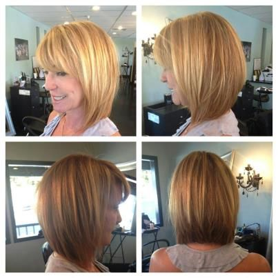 slightly shorter/stacked a-line bob - I like my bob now but I think I would like this when it grows out a bit