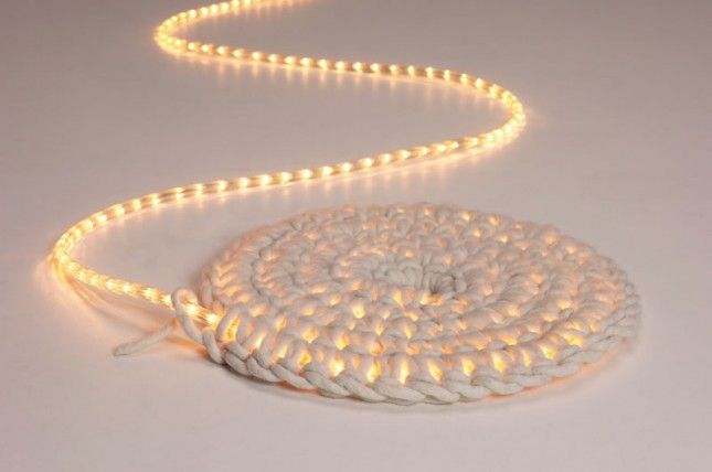 20 DIY Rugs to Brighten Up Your Space. This one is made with a rope light & basi
