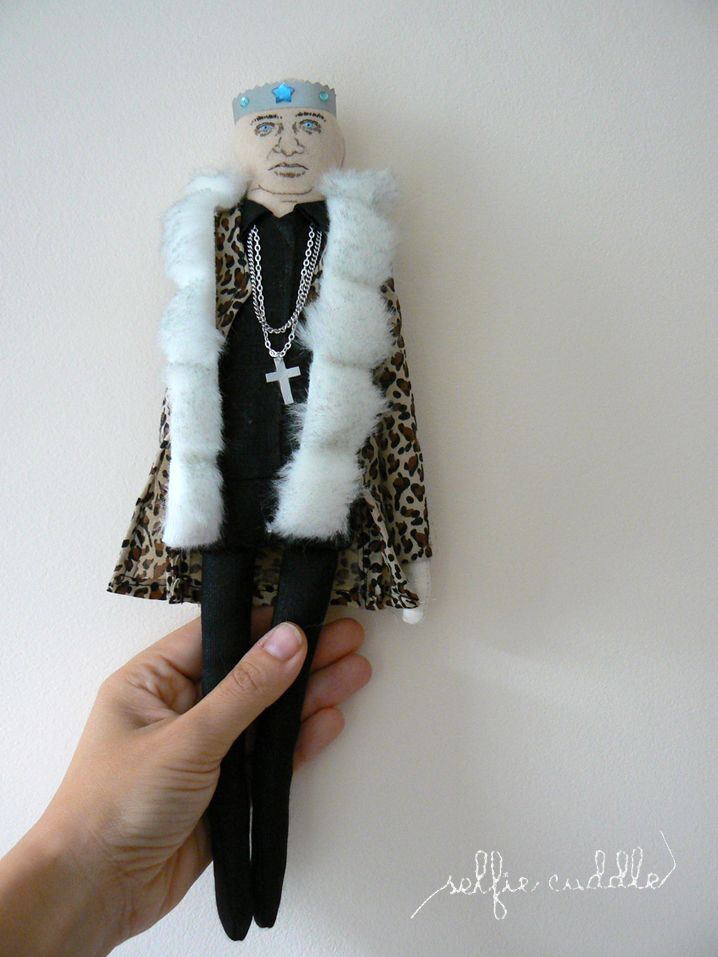 fabric handmade doll, portrait, selfie, Slovak singer, funky music, Ivan King Vereš