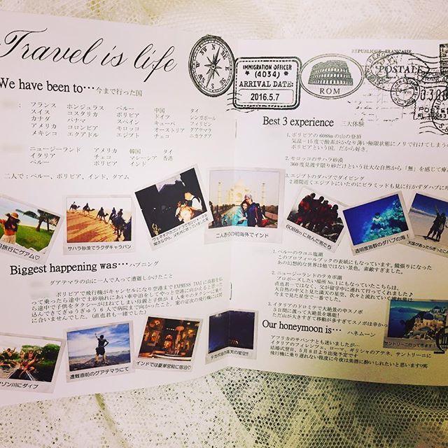 #symweddingreport : 23 profile book-P4,P5 . 旅雑誌風のプロフィールブックの中身...。 サクサクいきます! ここは1番大変だったとこ . 世界一周旅行をしていた彼と旅行好きな私。 一緒に南米やインドにも行きました。 . そんな2人のことを知ってもらいたく &新郎新婦入場までの皆様の暇つぶしに &これからお互いの友人に会うときなんかの 話のネタにもなればいいなと、 私と彼の旅履歴と、 その時々のストーリーを。 . 写真はポラロイド風にして その時々の説明も入れました . ハネムーンにどこに行くのかも 入れたのも自己満です . #結婚式レポ #結婚式レポ ート #披露宴レポート #ウエディングレポート #weddingreport #marryxoxo #marry花嫁 #ウエディングニュース #横浜迎賓館 #travelwedding #花嫁DIY #旅行がテーマ #テーマは旅行 #プロフィールブック #プロフィールブック手作り #さゆDIY #ペーパーアイテム #ペーパーアイテム手作り #paperitem #profilebook